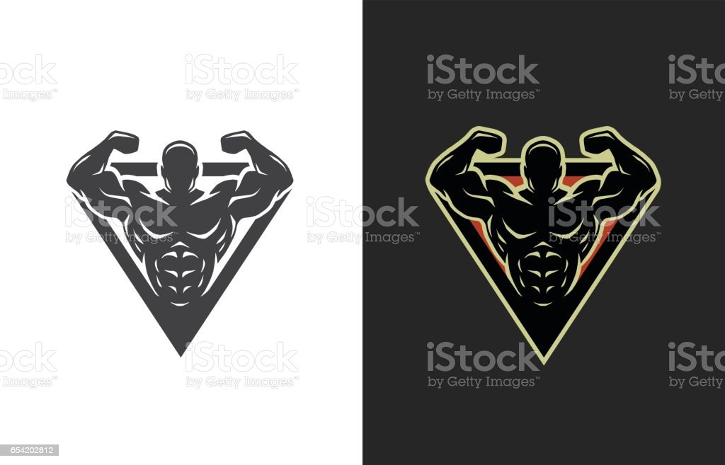 Bodybuilding, logo, two options. vector art illustration