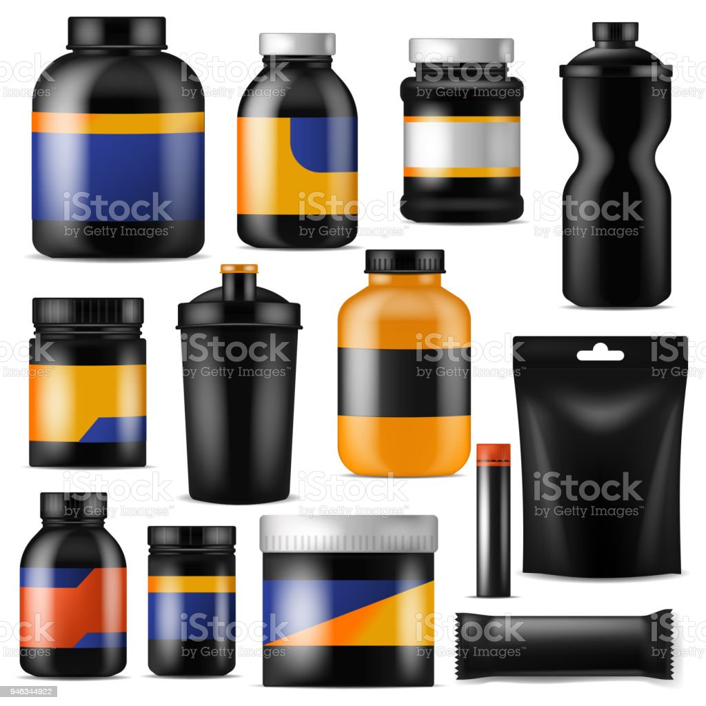 Bodybuilding nutrition vector branding fitness sport nutritional supplement with protein in branded bottle for bodybuilders illustration set isolated on white background vector art illustration