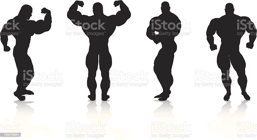 Bodybuilding Silhouette Collection royalty-free bodybuilding silhouette collection stock vector art & more images of activity