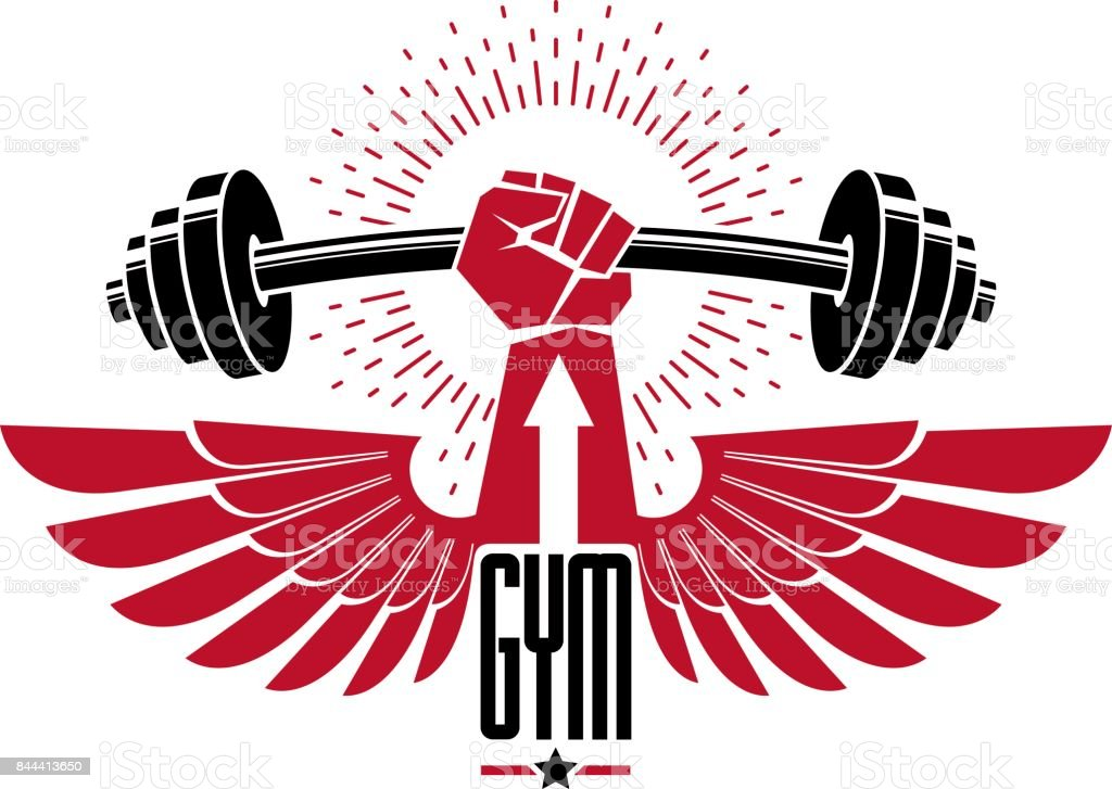 Bodybuilding weightlifting gym icon sport club, retro stylized vector emblem or badge with wings. With barbell and strong hand fist. vector art illustration
