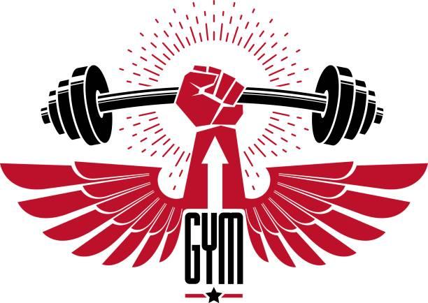 Club deportivo de Fisicoculturismo pesas gimnasio icono, emblema de retro vector estilizada o divisa con las alas. Con barra y el puño de la mano fuerte. - ilustración de arte vectorial