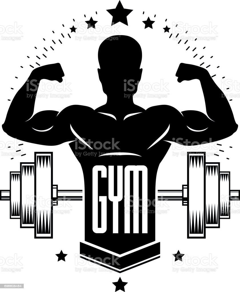 Plantilla deporte culturismo pesas gimnasio retro for Gimnasio o gimnacio