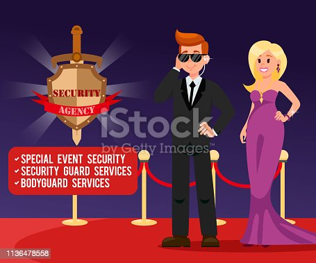 Bodyguard and Beautiful Woman Banner Template. Guardian and Star Cartoon Characters. Security Agency Emblem with Lettering. Protection options Poster Text Space. Agent at work Flat Vector Illustration