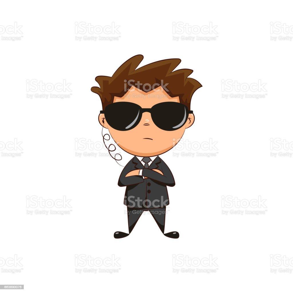 Bodyguard child vector art illustration