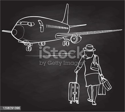 A woman on her way to board a plane