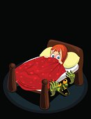 Vector illustration of a little cartoon girl terrified of the monster under her bed.