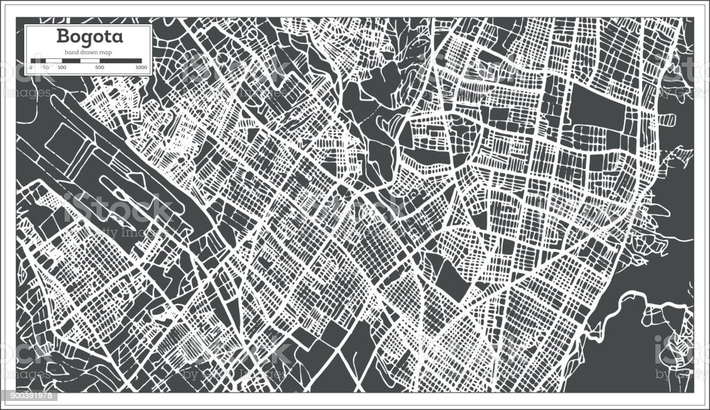 Bogota Colombia City Map in Retro Style. Outline Map. vector art illustration