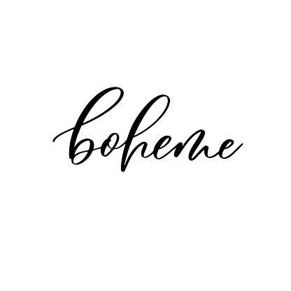 Boheme. Hand lettering and modern calligraphy inscription for design greeting cards, invitation and other.