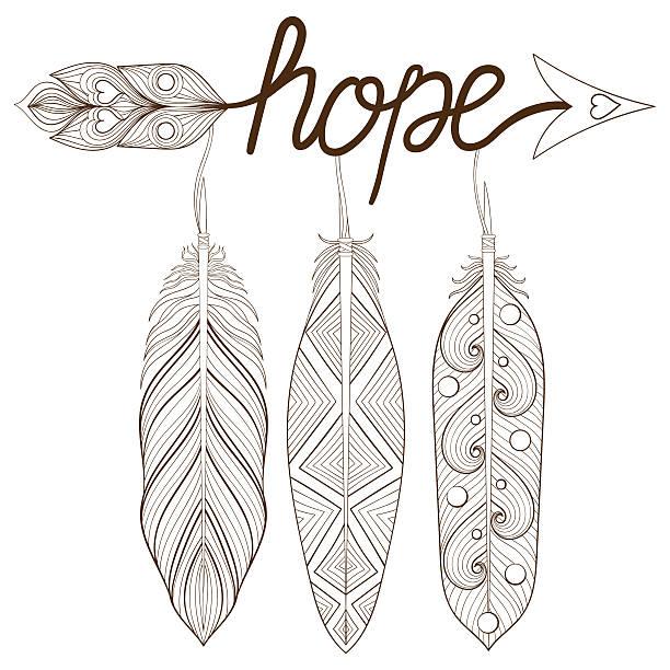 ilustrações de stock, clip art, desenhos animados e ícones de bohemian arrow, hand drawn amulet, letters hope with henna - hope