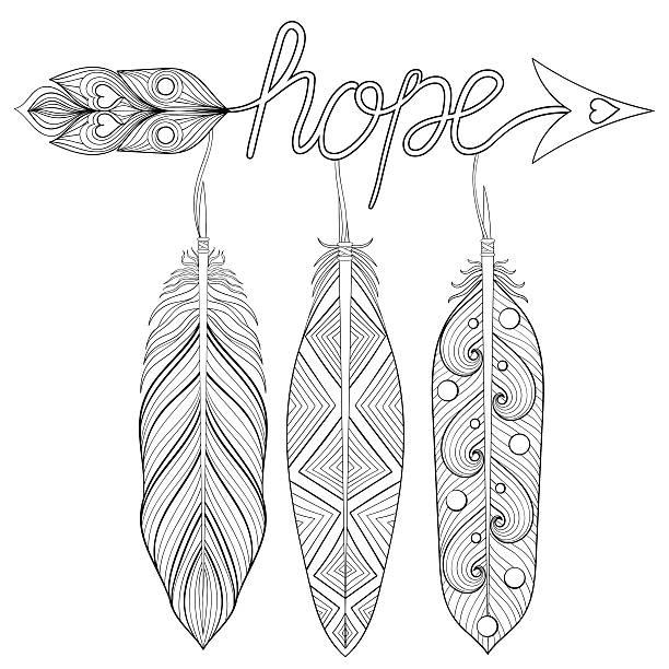 ilustrações de stock, clip art, desenhos animados e ícones de bohemian arrow, hand drawn amulet with letters hope - hope