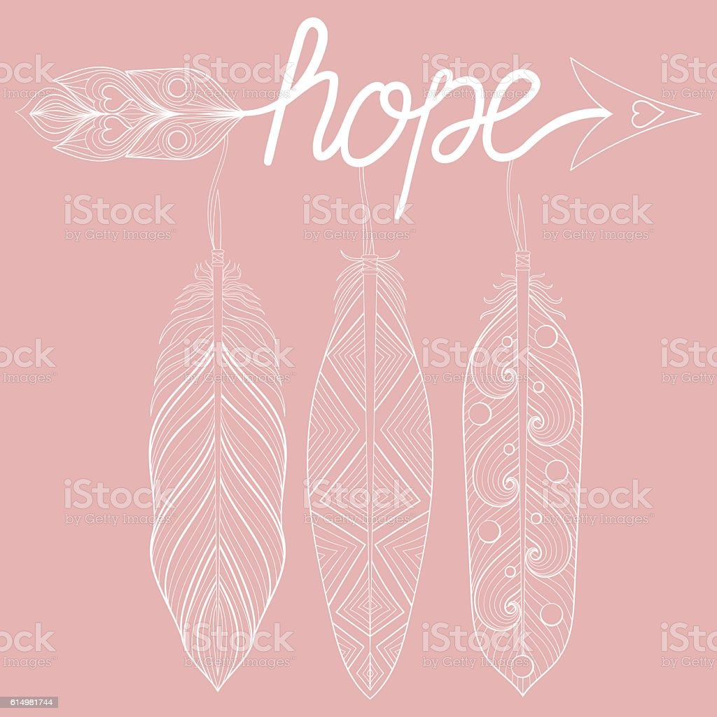 Bohemian Arrow On Pink Background Letters Hope With Henna Feath ...