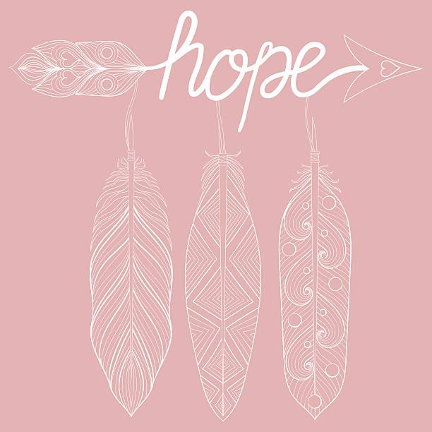 ilustrações de stock, clip art, desenhos animados e ícones de bohemian arrow on pink background, letters hope with henna feath - hope