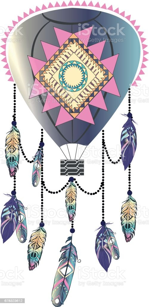 Bohemian balloon dreamcatcher with aztec ornament and feathers vector art illustration