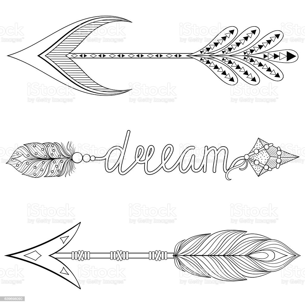 Bohemian Dream Arrows Set With Feathers For Adult Coloring Pages