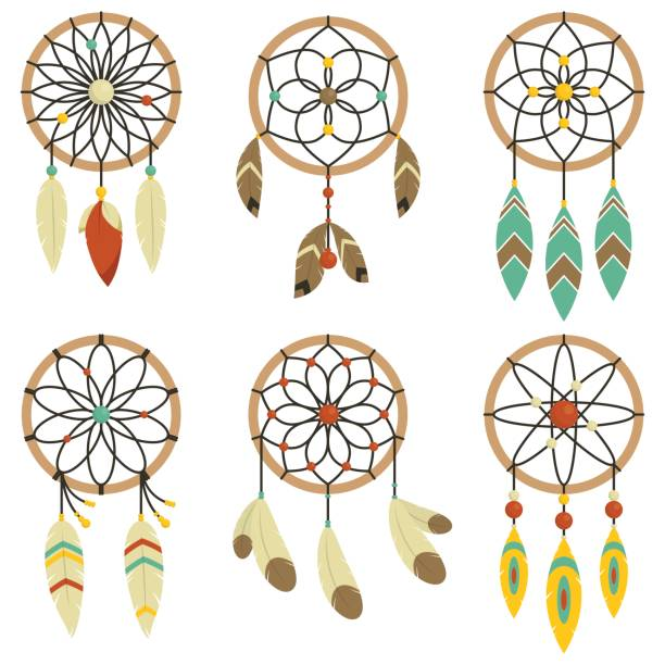 Bohemian Dream Catchers And Hipster Collection Set of dream catchers in bohemian style dreamcatcher stock illustrations