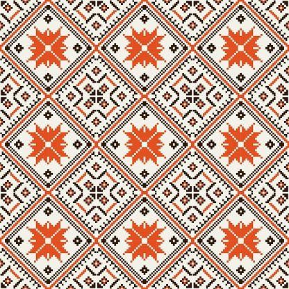 Bohemian, fashionable seamless ornament in ethnic Hutsul style. In modern trendy shades. Perfect for the design of fabrics, clothing, interiors.