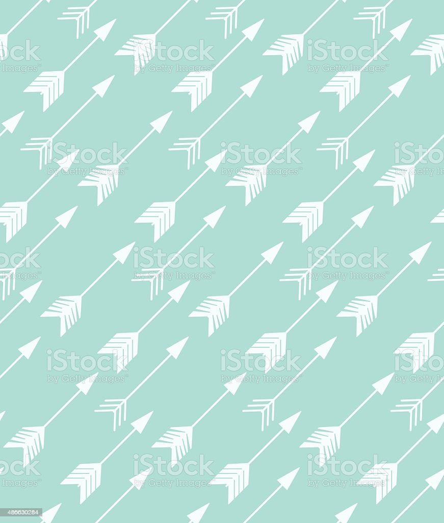 Bohemian hand drawn arrows, seamless pattern vector art illustration