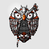 Bohemian hand drawn owl. Tribal boho owl.