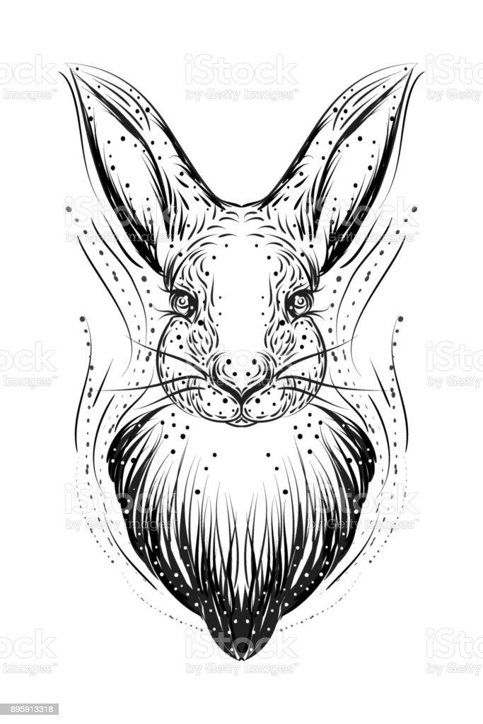 Illustration de Bohème avec main dessinée lapin blanc. Vintage, Bohème, style tzigane. - Illustration vectorielle