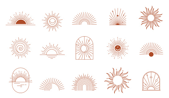 Bohemian linear logos, icons and symbols, sun, arc, window design templates, geometric abstract design elements for decoration.