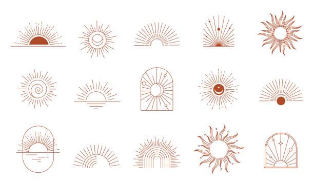 bildbanksillustrationer, clip art samt tecknat material och ikoner med bohemiska linjära logotyper, ikoner och symboler, sol, båge, fönsterdesignmallar, geometriska abstrakta designelement för dekoration. - sun