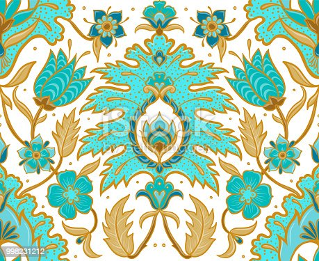 Seamless repeat pattern of boho flowers, leaves, mandalas and paisley details in turquoise blue, white, rust brown and tan colors.