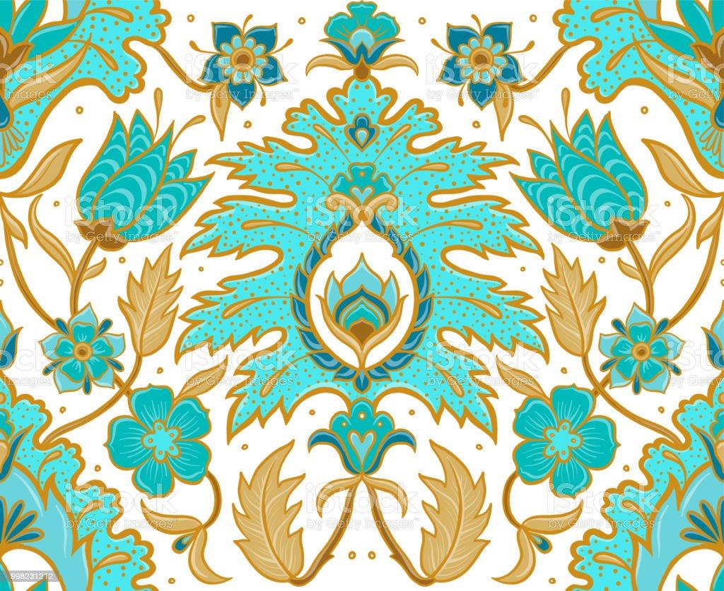 Vectorielle continue Bohème floral tile - turquoise et tan - Illustration vectorielle