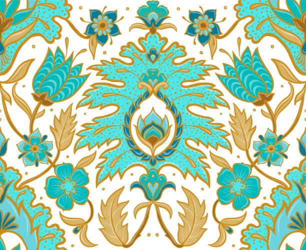 stockillustraties, clipart, cartoons en iconen met boheemse naadloze vector floral tegel - turquoise en tan - batik
