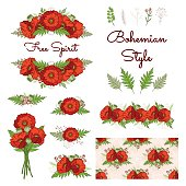 Bohemian style collection with poppies.