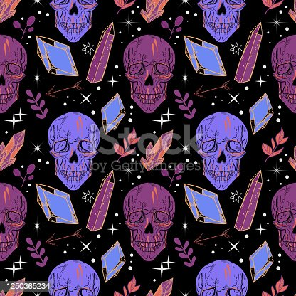 Bohemian tattoo art style seamless pattern with human's skull and floral background with crystal gems. Witchcraft fantasy print.