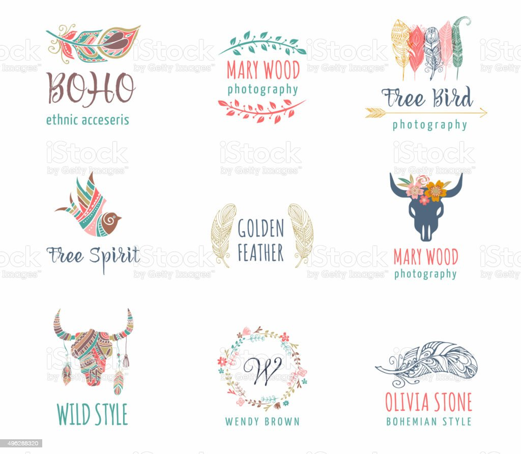 Bohemian, tribal, ethnic icon set with feather, bird and wreath vector art illustration