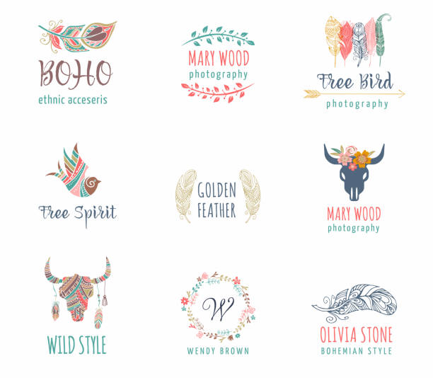 bohemian, tribal, ethnic icon set with feather, bird and wreath - bohemian fashion stock illustrations, clip art, cartoons, & icons