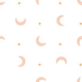 Bohemianl hand drawn pattern, ethnic pattern. Boho seamless texture. Ethnic background with moon and stars. Wallpaper for pattern fills, web page