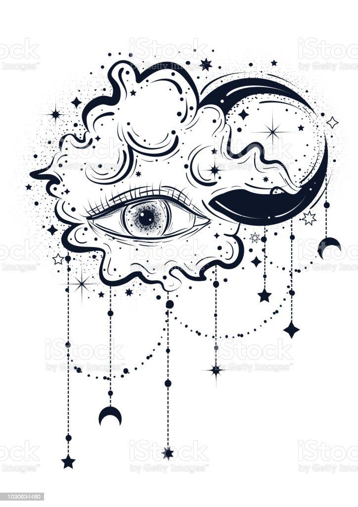 Boho Illustration Abstraite Dans Le Style Art Tatouage Avec Les Yeux