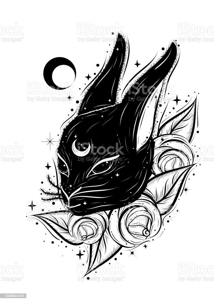 Ilustración abstracta Boho con conejo mágico y rosas. Dibujo estilo flash del tatuaje decorativo. Alicia en motivos del país de las maravillas. - ilustración de arte vectorial