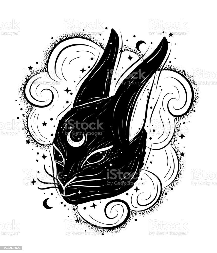 Ilustración abstracta de Boho con conejo mágico, las nubes y la luna. Decoración en estilo de tattoo flash - ilustración de arte vectorial
