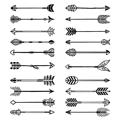 Boho arrows. Bows stylized weapons in ethno style arrows with feathers recent vector drawn set for logo design