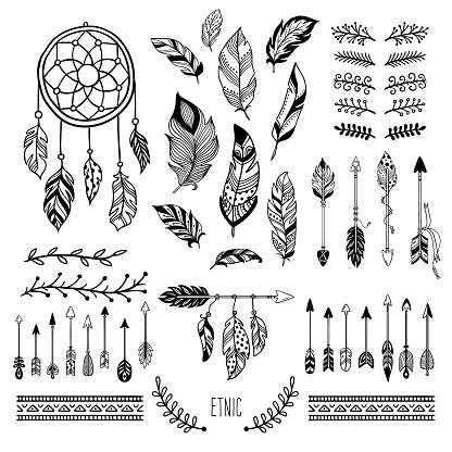 Boho art. Tribal arrow feather, bohemian floral border and hippie fashion frame vector elements set