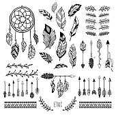 Boho art. Tribal arrow feather, bohemian floral border and hippie fashion frame, magic meditation ornament and ethnic dreamcatcher. Tattoo sketch vector isolated elements symbols set