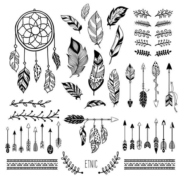 stockillustraties, clipart, cartoons en iconen met boho art. tribal pijl veer, boheemse floral rand en hippie mode frame vector-elementen instellen - boho