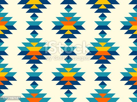 istock Boho aztec vertical diamonds rows colorful pattern 1207197137