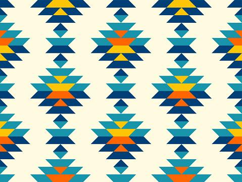 Timeless bohemian aztec diamonds in southwestern style pattern in blue,teal,yellow,orange.