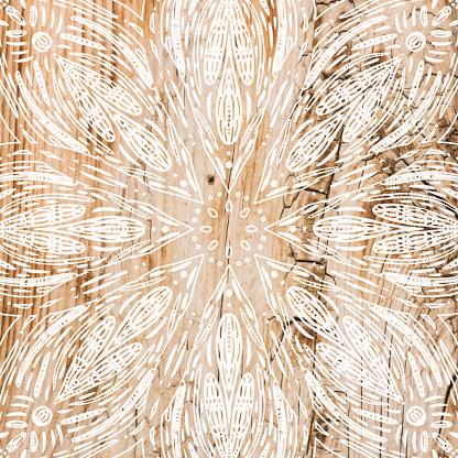Boho Background with White Flower Mandala Stencil On Shabby Wood Wall. Shabby Wooden Background. Grunge Texture, Painted Surface. Coastal Background.