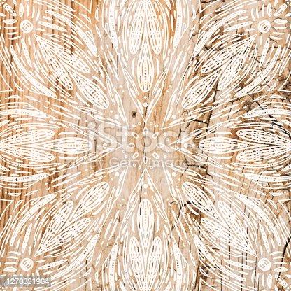 istock Boho Background with White Flower Mandala Stencil On Shabby Wood Wall. Shabby Wooden Background. Grunge Texture, Painted Surface. Coastal Background. 1270321964