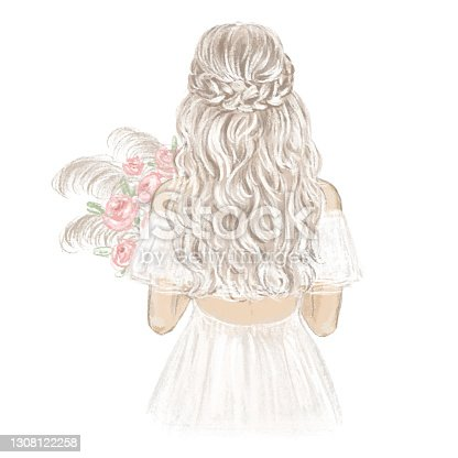istock Boho Bride hand drawn illustration. 1308122258