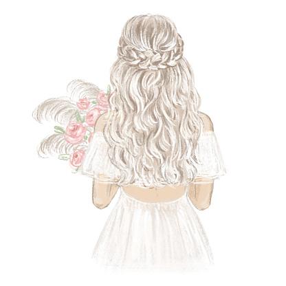 Boho Bride hand drawn illustration.