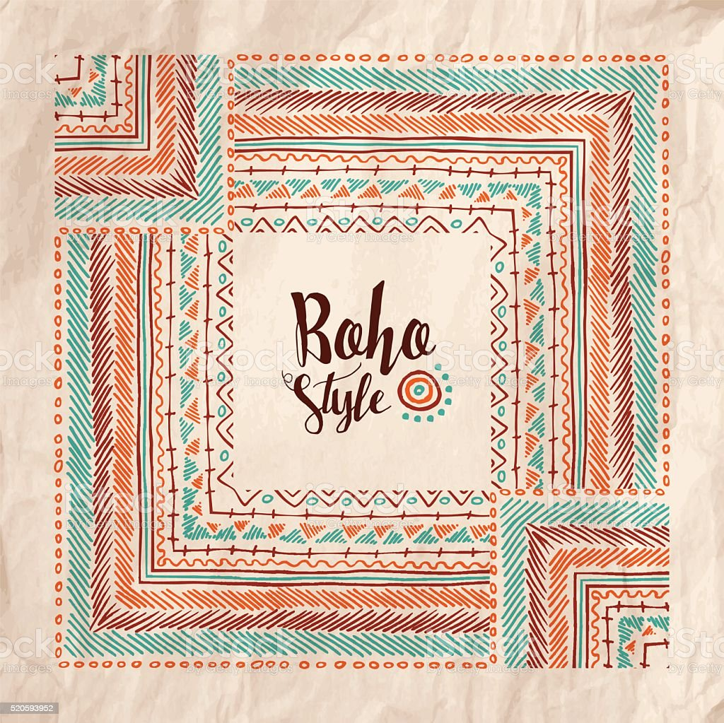 Boho fashion style poster on vintage paper texture vector art illustration