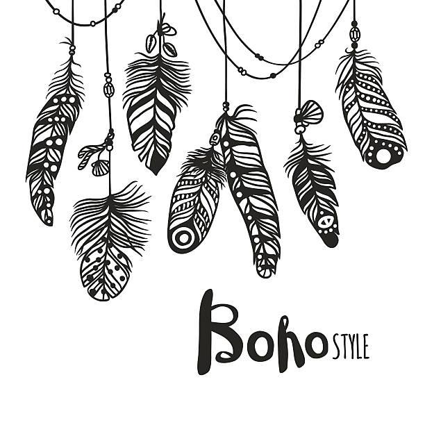 boho feather hand drawn effect vector style illustration - bohemian fashion stock illustrations, clip art, cartoons, & icons
