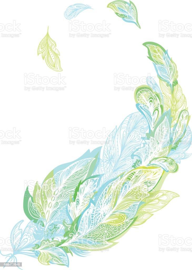 Boho Feather Print vector art illustration