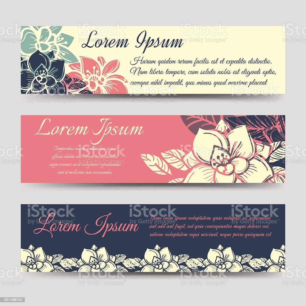 Boho floral banners design set Lizenzfreies boho floral banners design set stock vektor art und mehr bilder von abstrakt